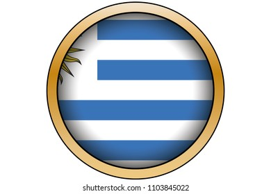 A 3D Gold Round Button with the Flag of Uruguay