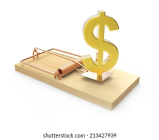 3d Gold US Dollar symbol as bait in a mousetrap