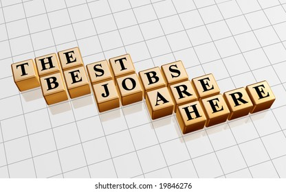 3d golden boxes with text - the best jobs are here, word