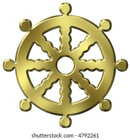 3D Golden Buddhism Symbol Wheel of Life
