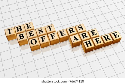 3d golden cubes with black letters, text - the best offers are here