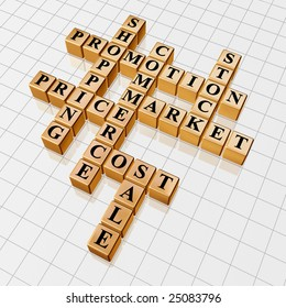 3d golden cubes with text - shopping; promotion; price; sale; market; stock; commerce; cost