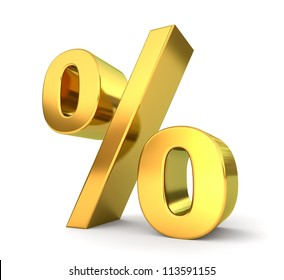 3d golden sign collection - percent