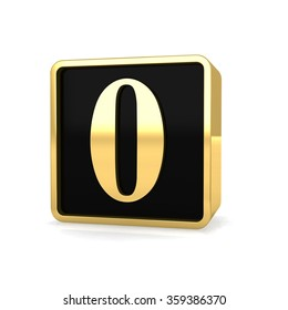 3d golden square box number 0 zero with gold metal frame alphabet perspective render