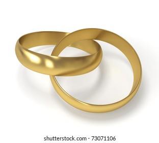 3d golden wedding rings