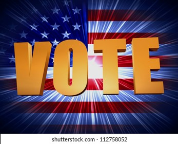 3d golden word vote with shining american flag