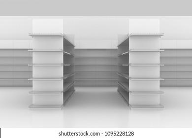 3D gondola shelf supermarket