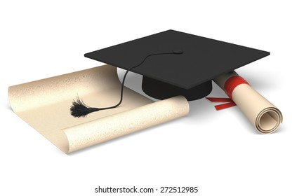 3D. Graduation, Education, Mortar Board.