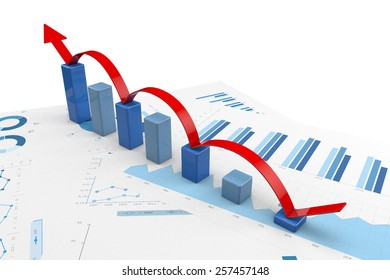 3d graph with positive growth arrow