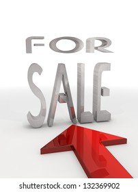 3D graphic Isolated for sale icon with red arrow