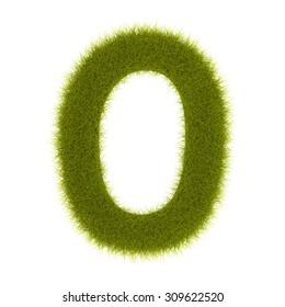 """3d Grass digit """"zero"""""""