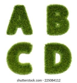 3D grass textured drawing alphabet series 1