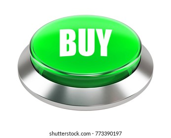 3d green button with Buy text  on white background 3d illustration