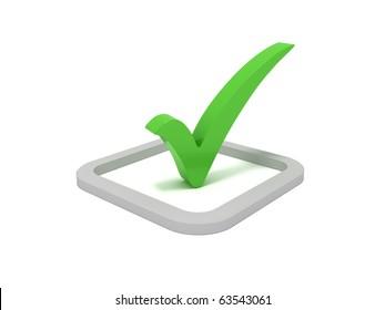 3D green check mark sign