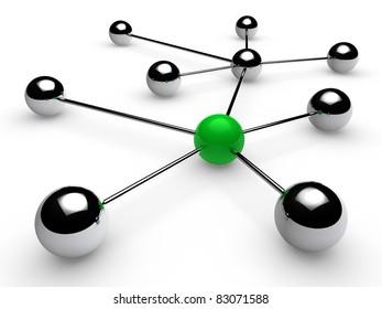 3d, green, chrome, ball, network, communication, white