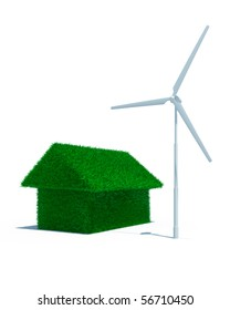 3d green grass house with wind power