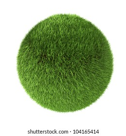 3D green grass sphere isolated on white background.