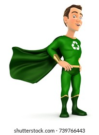 3d green hero standing with cape in the wind, illustration with isolated white background