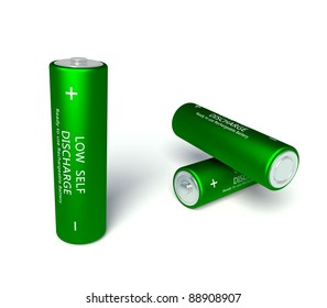 3d green rechargeable AA batteries