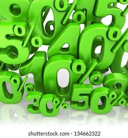 3d green various percents