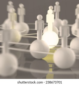 3d growing light human social network and leadership as concept