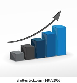 3D Growth bar graph. Business concept. Raster version.