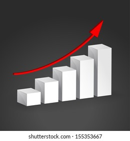 3D Growth bar graph. Business concept. This is raster version.