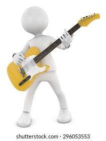 3d Guitarist man plays on the yellow electric guitar