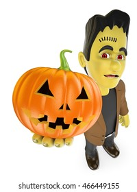 3d halloween people illustration. Funny monster with a big pumpkin. Isolated white background.