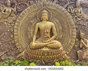 3D Buddha's hand carved wall sculpture