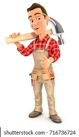 3d handyman carrying hammer on shoulder, illustration with isolated white background