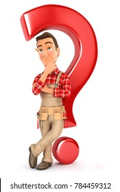 3d handyman leaning back against question mark, illustration with isolated white background