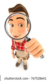 3d handyman looking into a magnifying glass, illustration with isolated white background