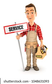 3d handyman with service sign and toolbox, illustration with isolated white background