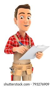 3d handyman writing on notepad, illustration with isolated white background