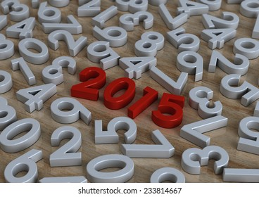 3d Happy new year 2015 in red on modern wood background with number letters, Text design, creative background