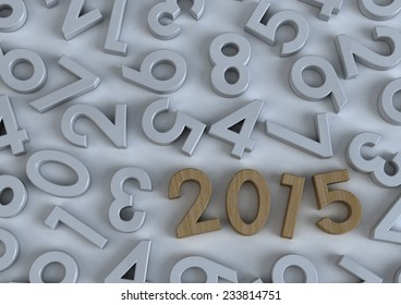 3d Happy new year 2015 in wooden on modern white background with number letters, Text design, creative background