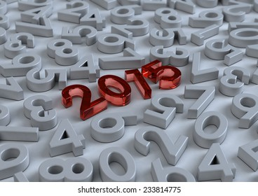 3d Happy new year 2015 in red glass on modern white background with number letters, Text design, creative background