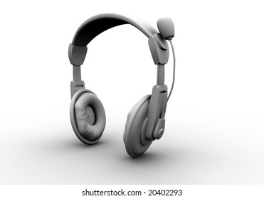 3d headphones on wih white background
