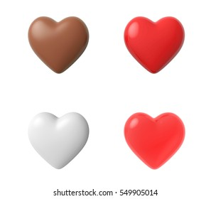 3D heart,isolated on white background