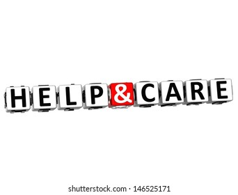 3D Help And Care Button Click Here Block Text over white background