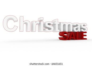 3d High resolution image Christmas sale sign isolated on white