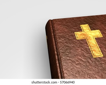 3D Holy bible with golden cross on book from leather on white background
