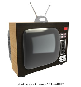 3d home old tv isolated at white background