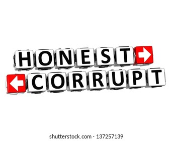 3D Honest Corrupt Button Click Here Block Text over white background