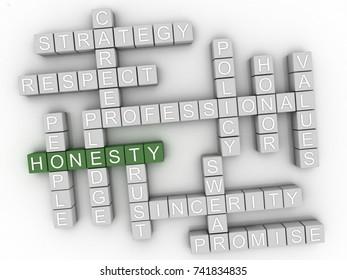 3d Honesty Concept word cloud