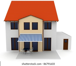 3d house generic rendered  on white  background