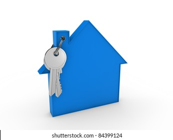 3d house key blue home estate security