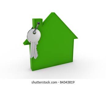 3d house key green home estate security