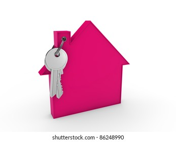 3d house key pink home estate security